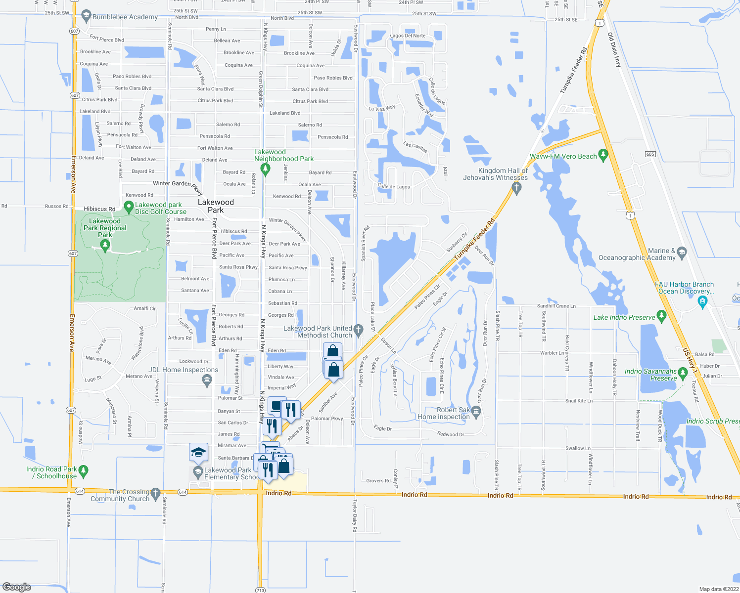 map of restaurants, bars, coffee shops, grocery stores, and more near 5527 Place Lake Drive in Fort Pierce