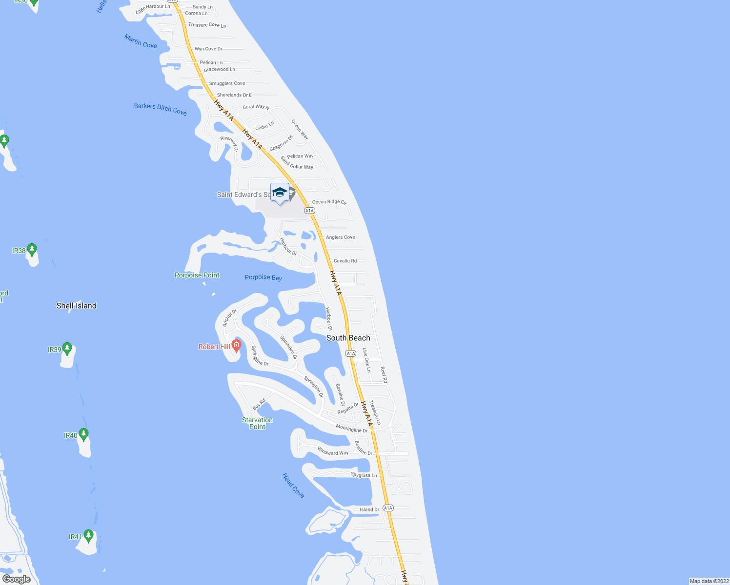 map of restaurants, bars, coffee shops, grocery stores, and more near 2180 Captains Walk in Vero Beach