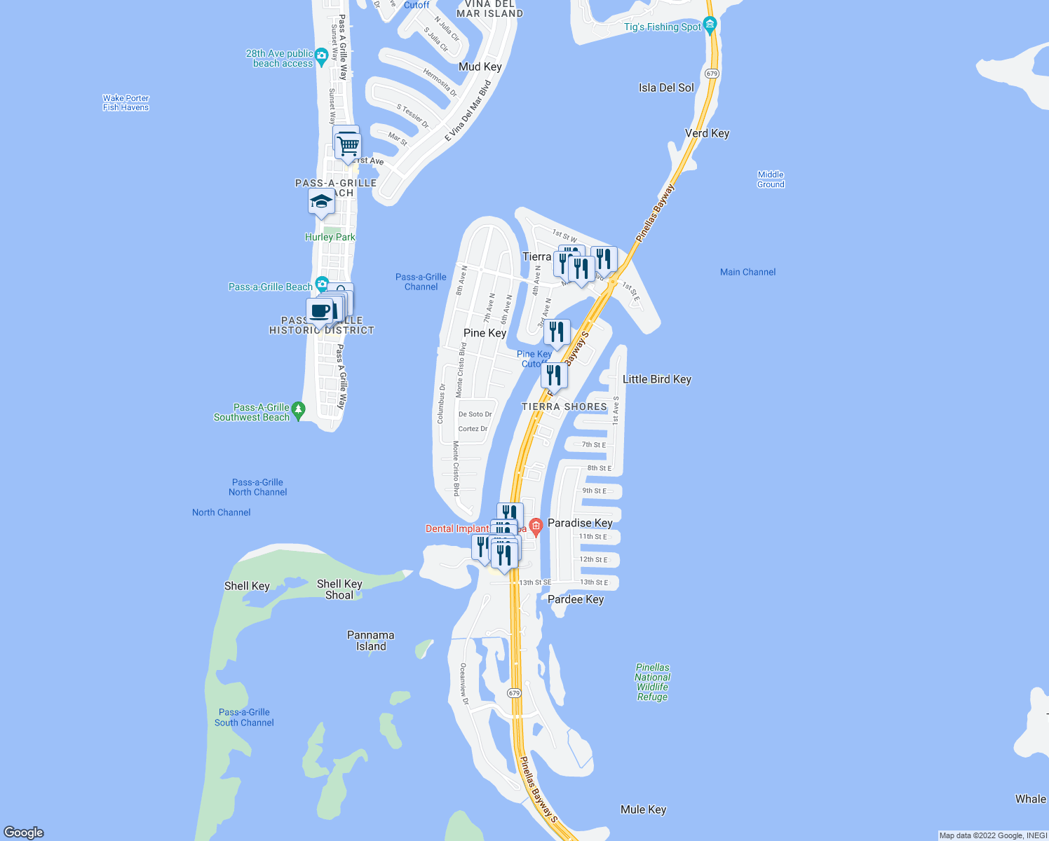 map of restaurants, bars, coffee shops, grocery stores, and more near 610 Pinellas Bayway South in Tierra Verde
