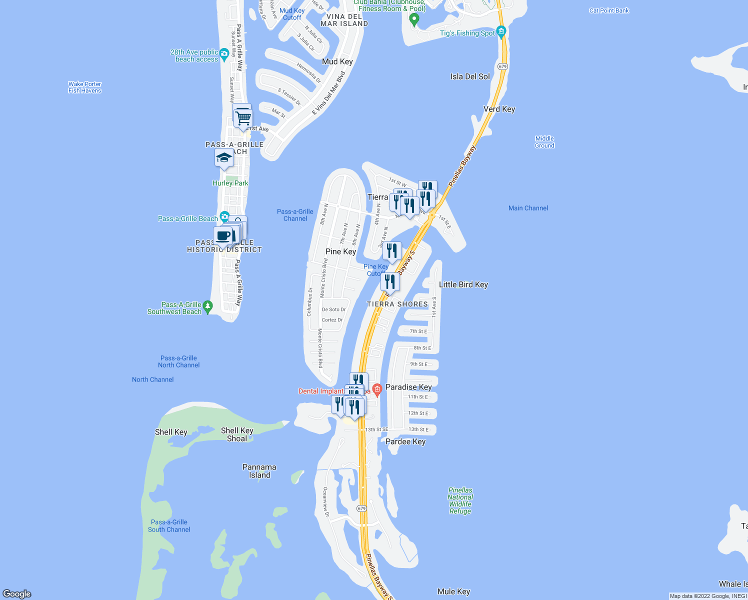 map of restaurants, bars, coffee shops, grocery stores, and more near 544 Pinellas Bayway South in Tierra Verde