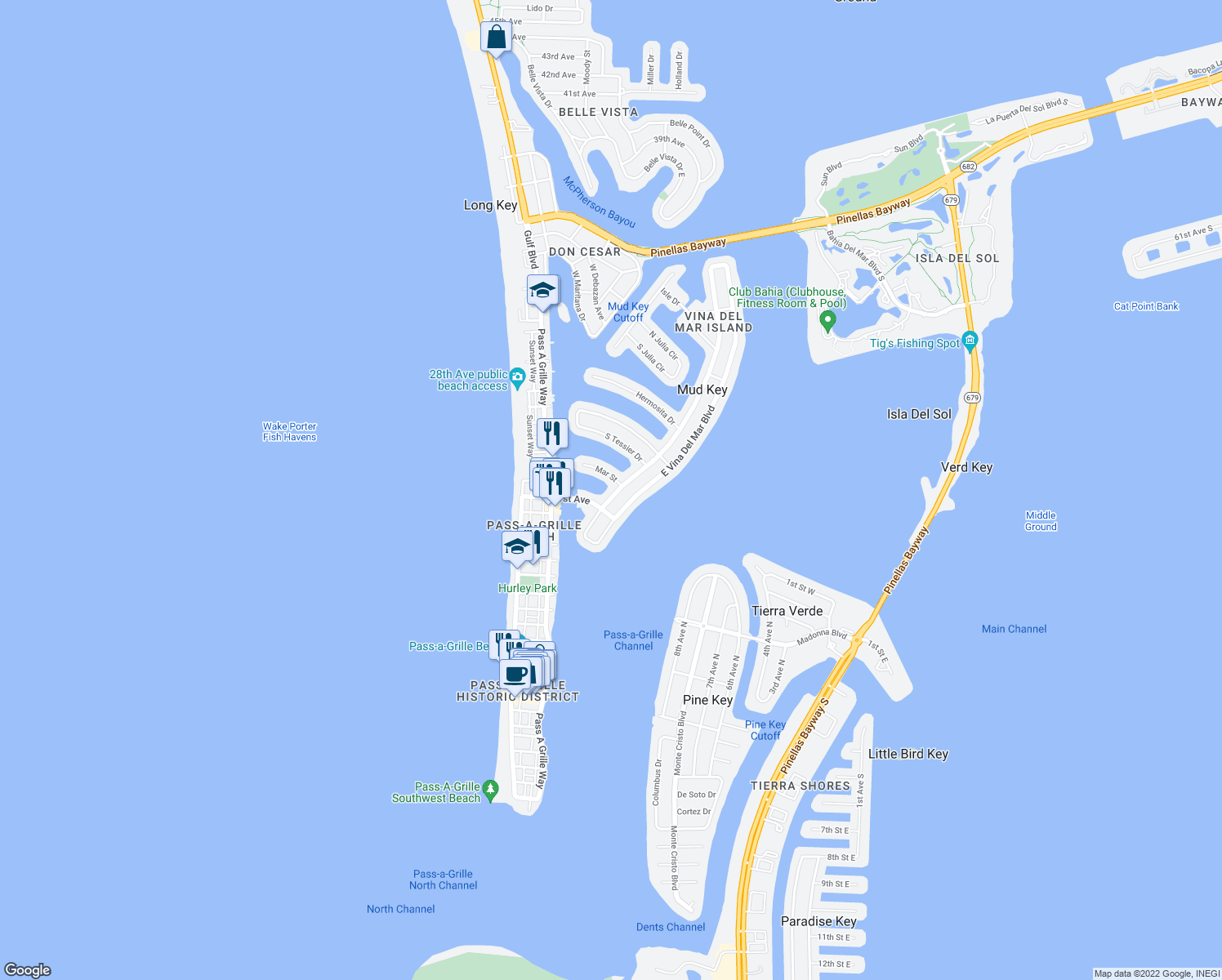 map of restaurants, bars, coffee shops, grocery stores, and more near 2162 West Vina Del Mar Boulevard in Saint Pete Beach