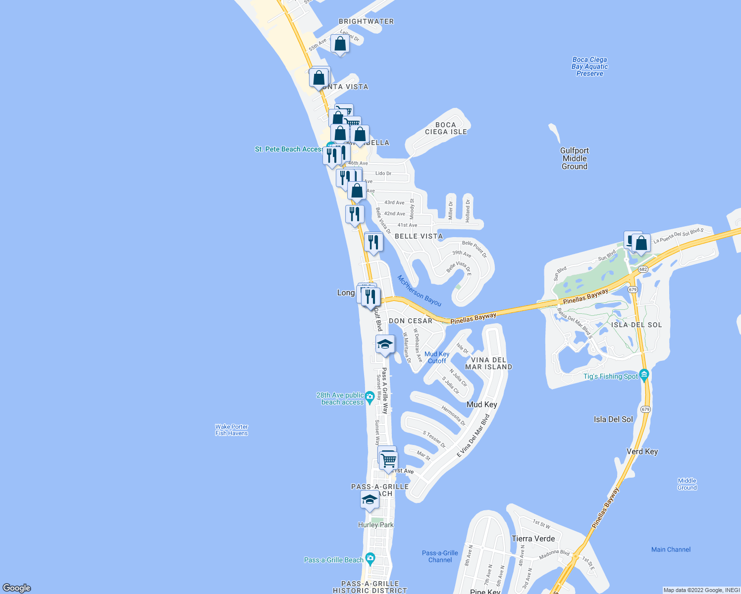 map of restaurants, bars, coffee shops, grocery stores, and more near 3506 Gulf Boulevard in Saint Pete Beach