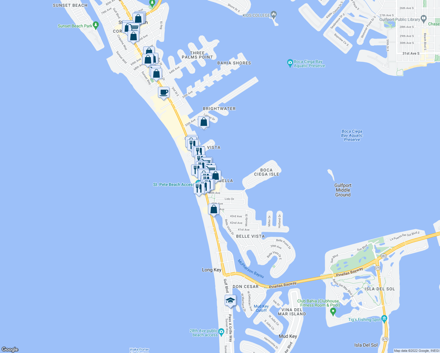 map of restaurants, bars, coffee shops, grocery stores, and more near 4673 Mirabella Court in Saint Pete Beach