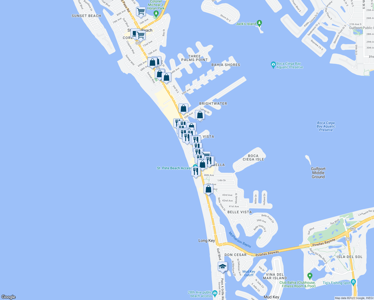 map of restaurants, bars, coffee shops, grocery stores, and more near 140 51st Avenue West in St. Pete Beach