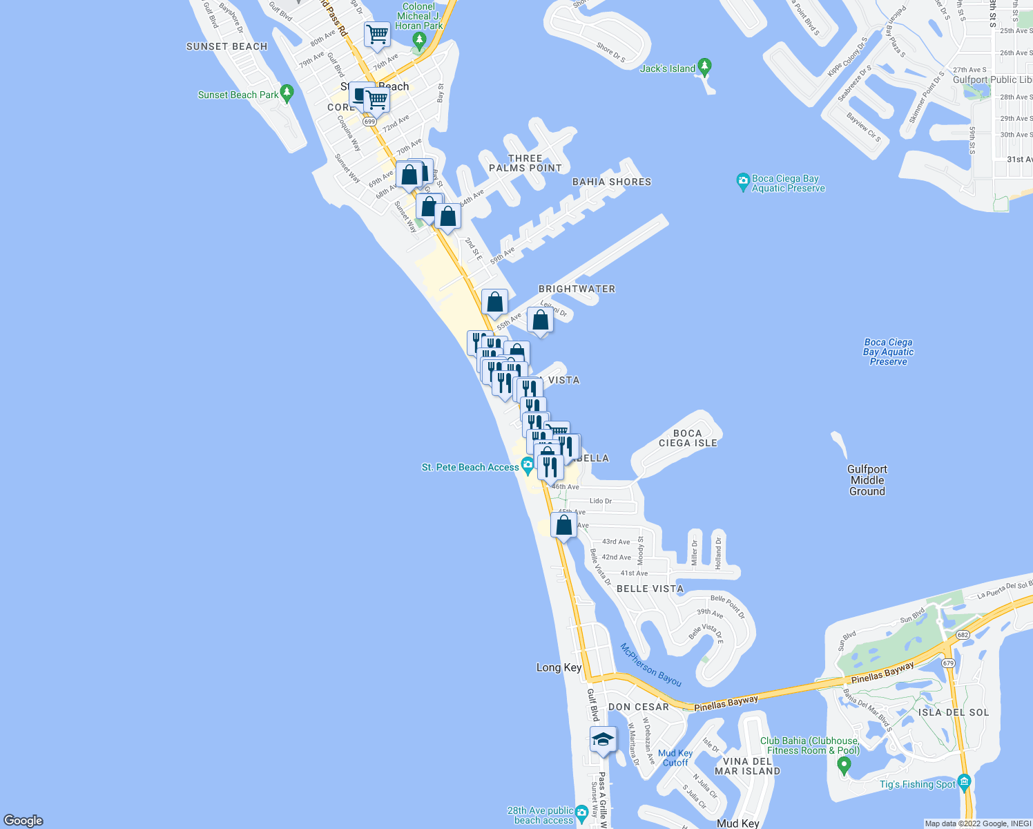 map of restaurants, bars, coffee shops, grocery stores, and more near 5050 Gulf Boulevard in St. Pete Beach