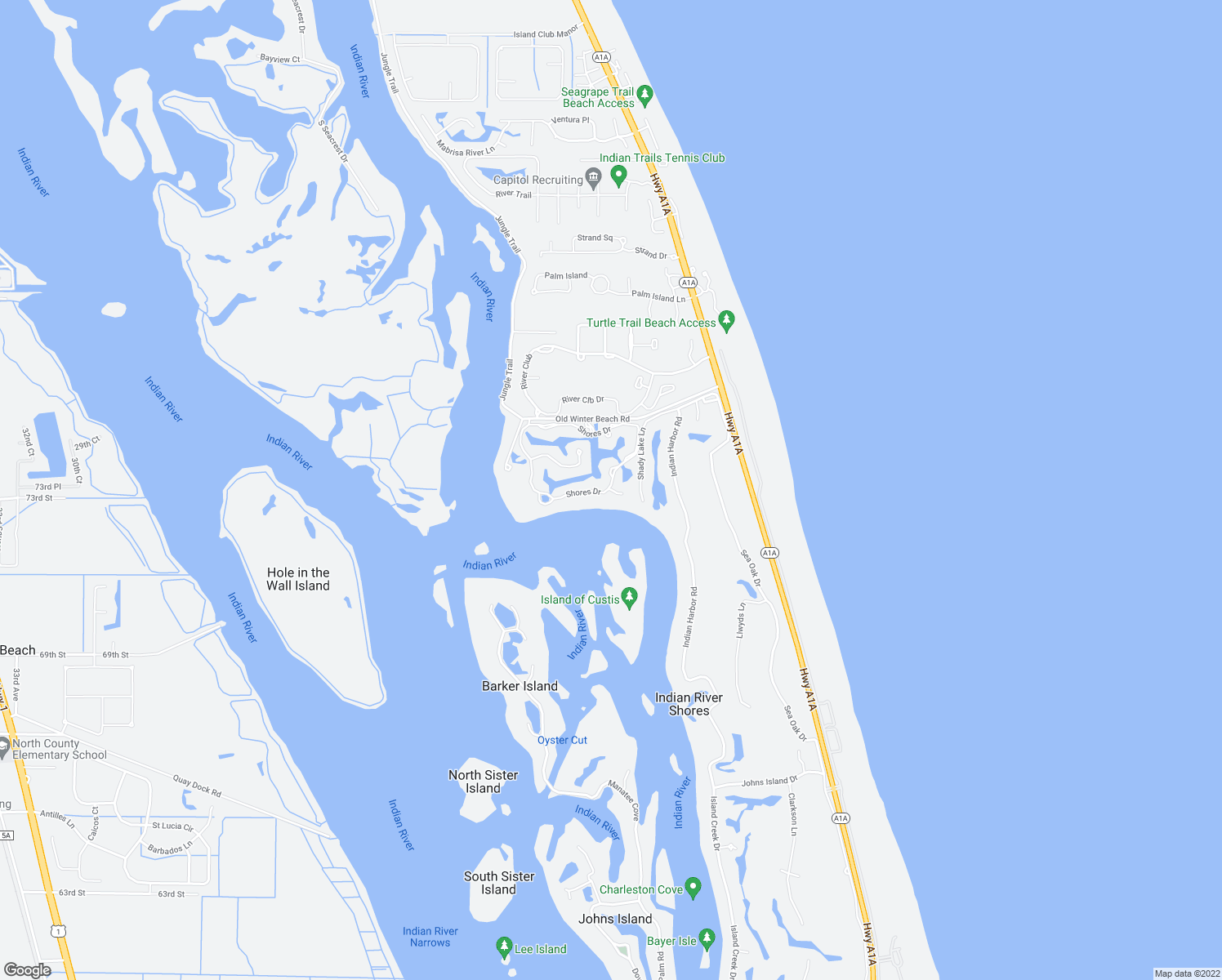 map of restaurants, bars, coffee shops, grocery stores, and more near 120 Twin Island Reach in Vero Beach