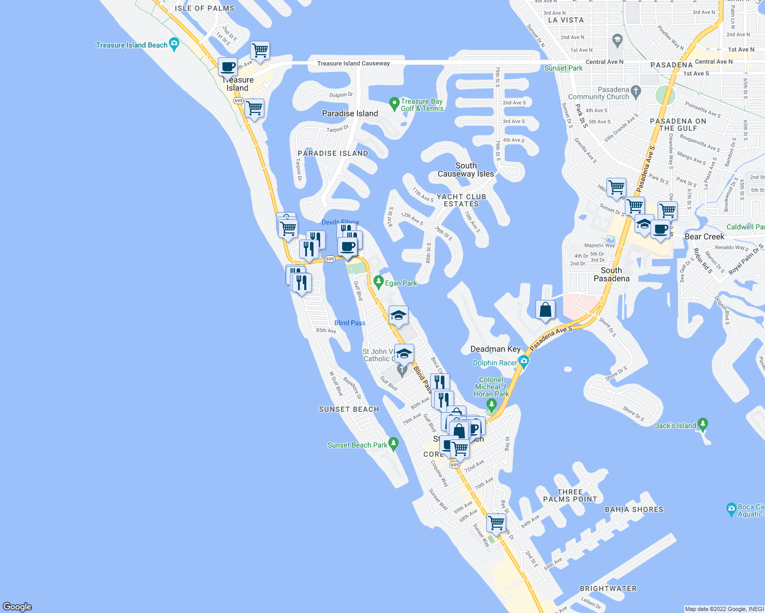 map of restaurants, bars, coffee shops, grocery stores, and more near 8921 Blind Pass Road in Saint Pete Beach