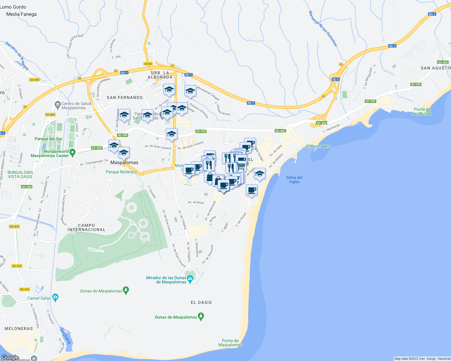 map of restaurants, bars, coffee shops, grocery stores, and more near 3 Avenida de Menceyes in Maspalomas