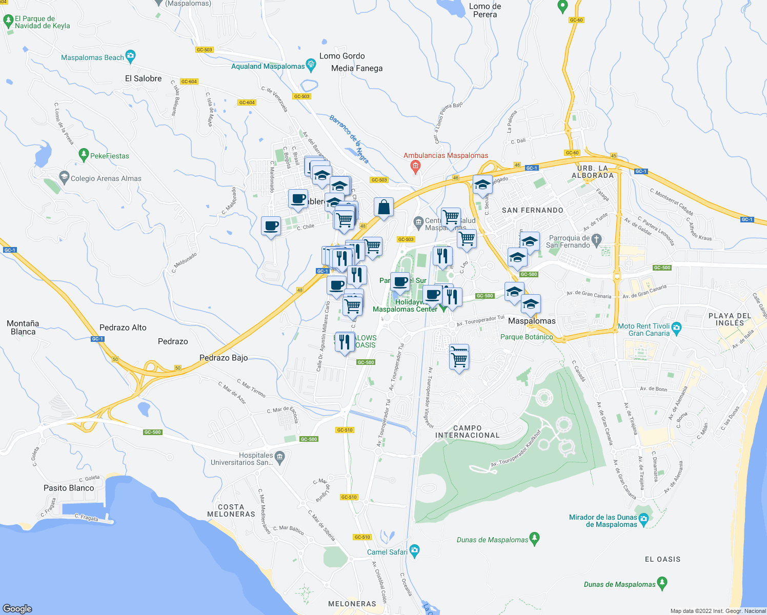 map of restaurants, bars, coffee shops, grocery stores, and more near in Maspalomas
