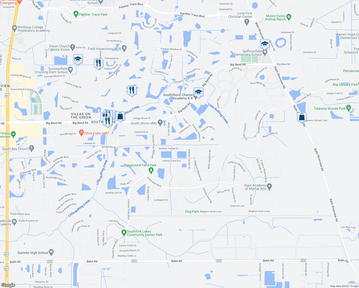 map of restaurants, bars, coffee shops, grocery stores, and more near 11537 Misty Isle Lane in Riverview