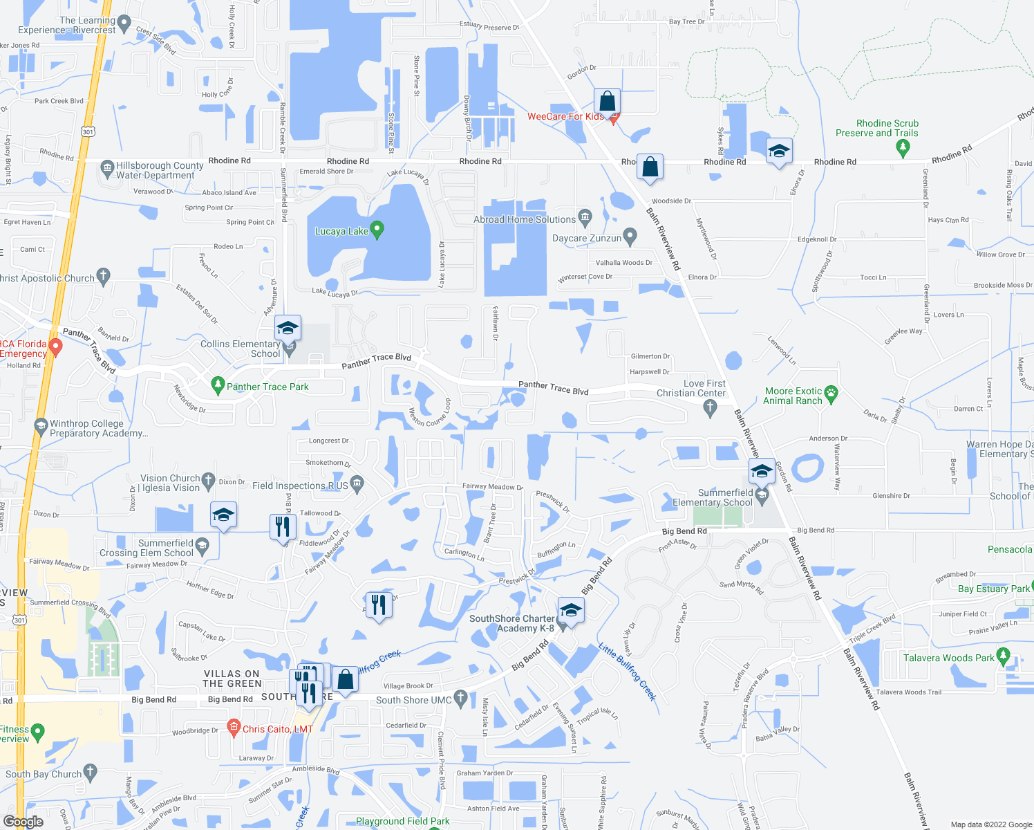 map of restaurants, bars, coffee shops, grocery stores, and more near 12671 Belcroft Drive in Riverview