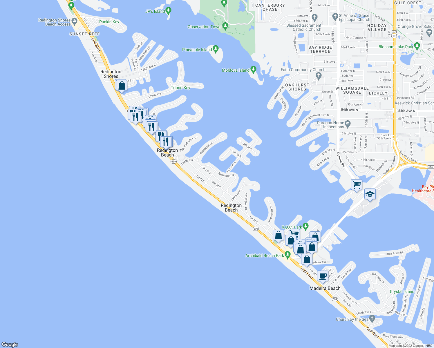 map of restaurants, bars, coffee shops, grocery stores, and more near 16110 Redington Drive in Redington Beach