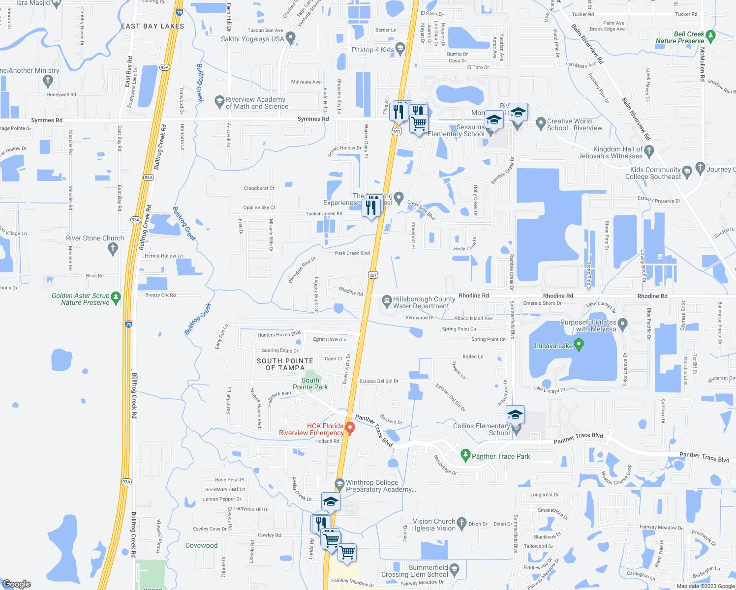 US Rhodine Road Riverview FL Walk Score - Us 301 map