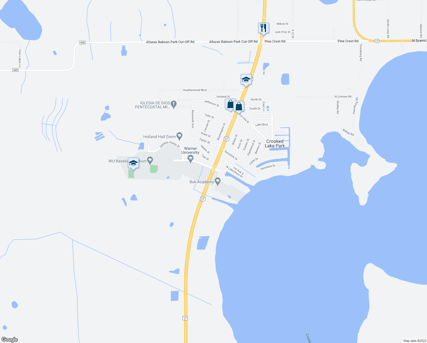 map of restaurants, bars, coffee shops, grocery stores, and more near 65-95 North Lake Shore in Lake Wales