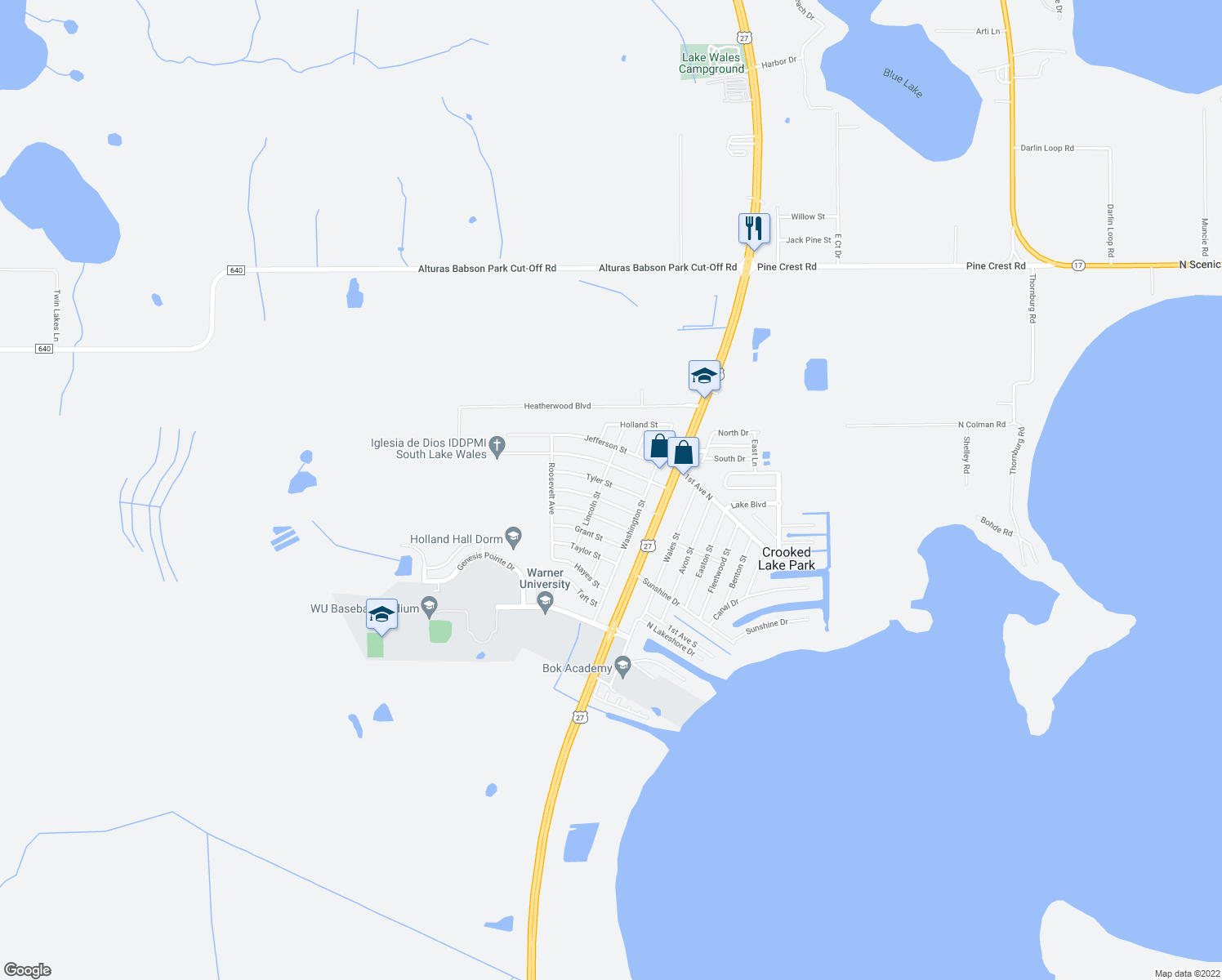 map of restaurants, bars, coffee shops, grocery stores, and more near 132 Tyler Street in Lake Wales