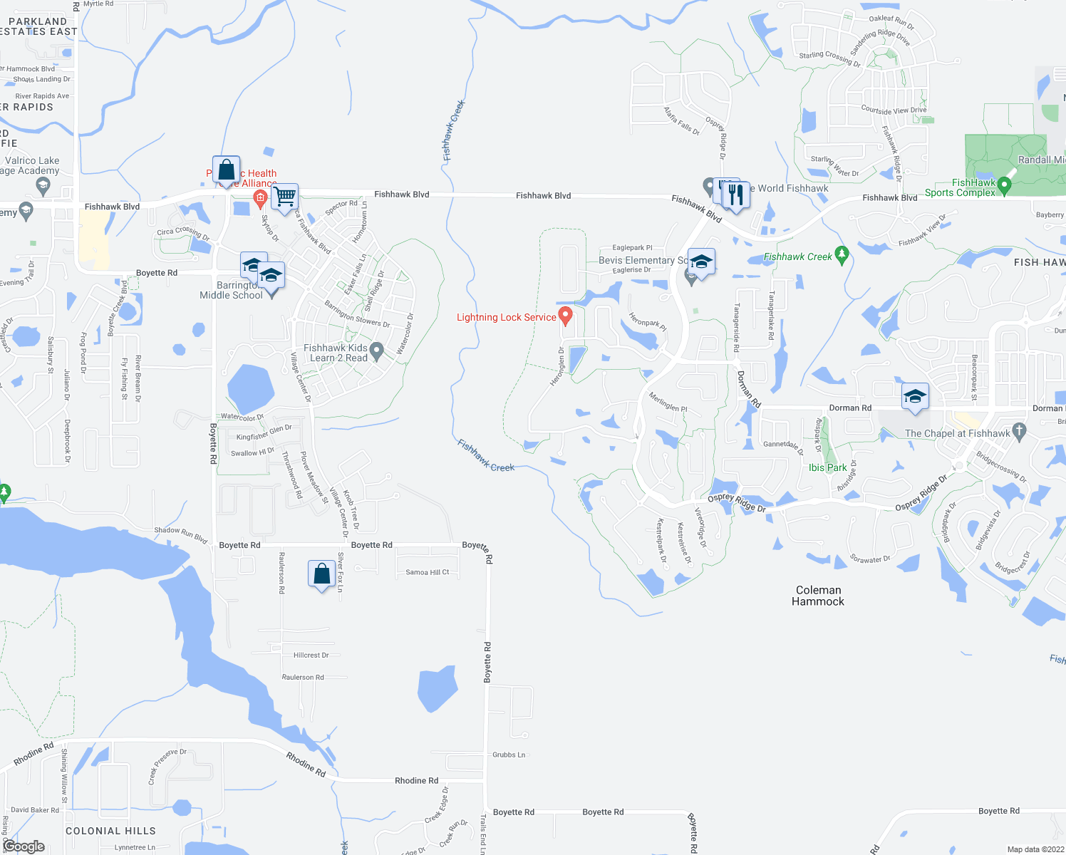 map of restaurants, bars, coffee shops, grocery stores, and more near 14809 Heronglen Drive in Lithia