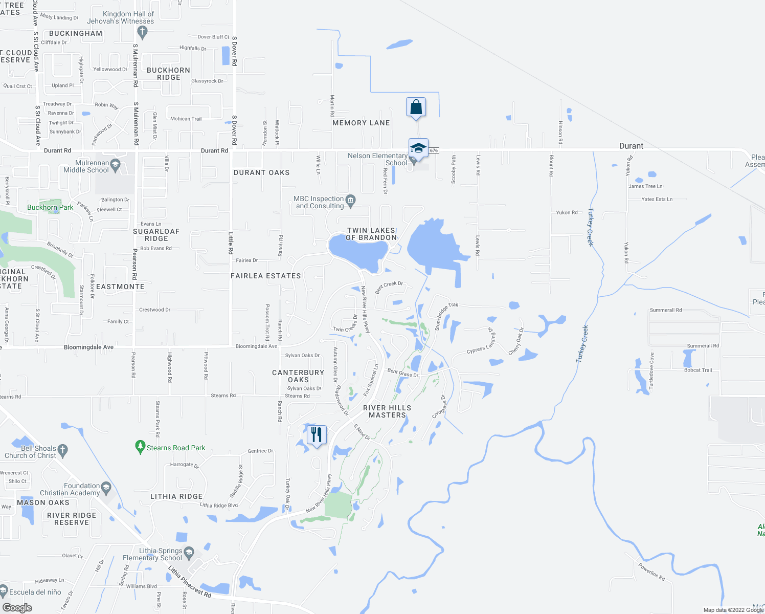 map of restaurants, bars, coffee shops, grocery stores, and more near 3002 Bent Creek Dr in Valrico