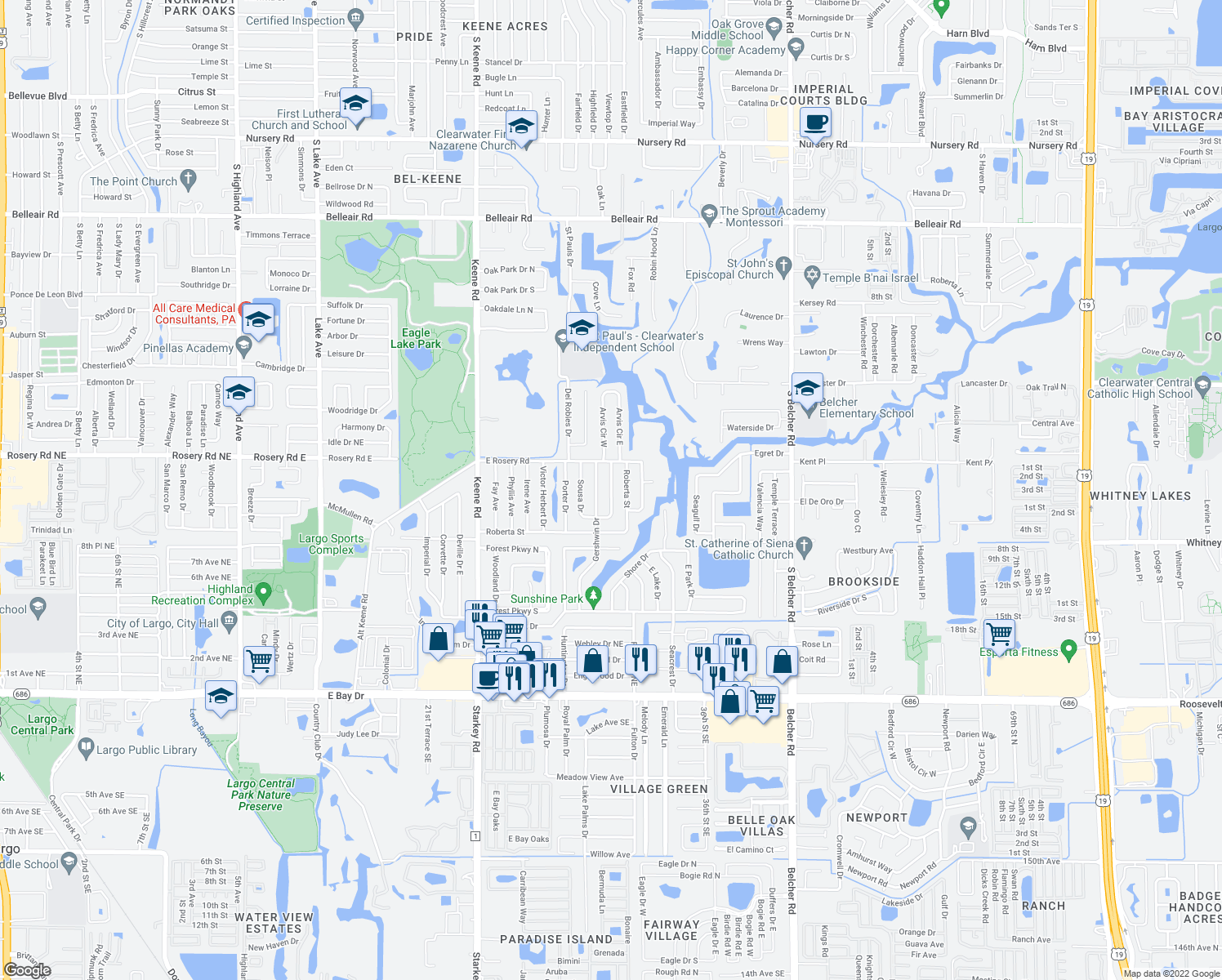 map of restaurants, bars, coffee shops, grocery stores, and more near Stephen Foster Drive in Largo