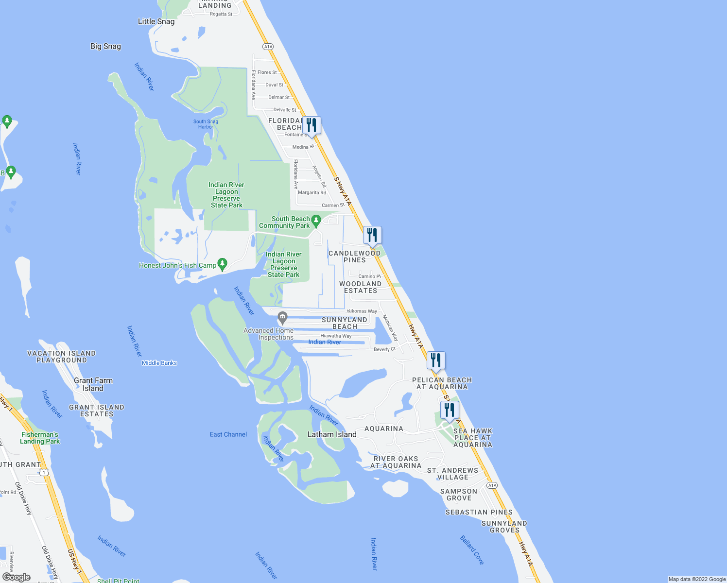 map of restaurants, bars, coffee shops, grocery stores, and more near 235 Woody Circle in Melbourne Beach