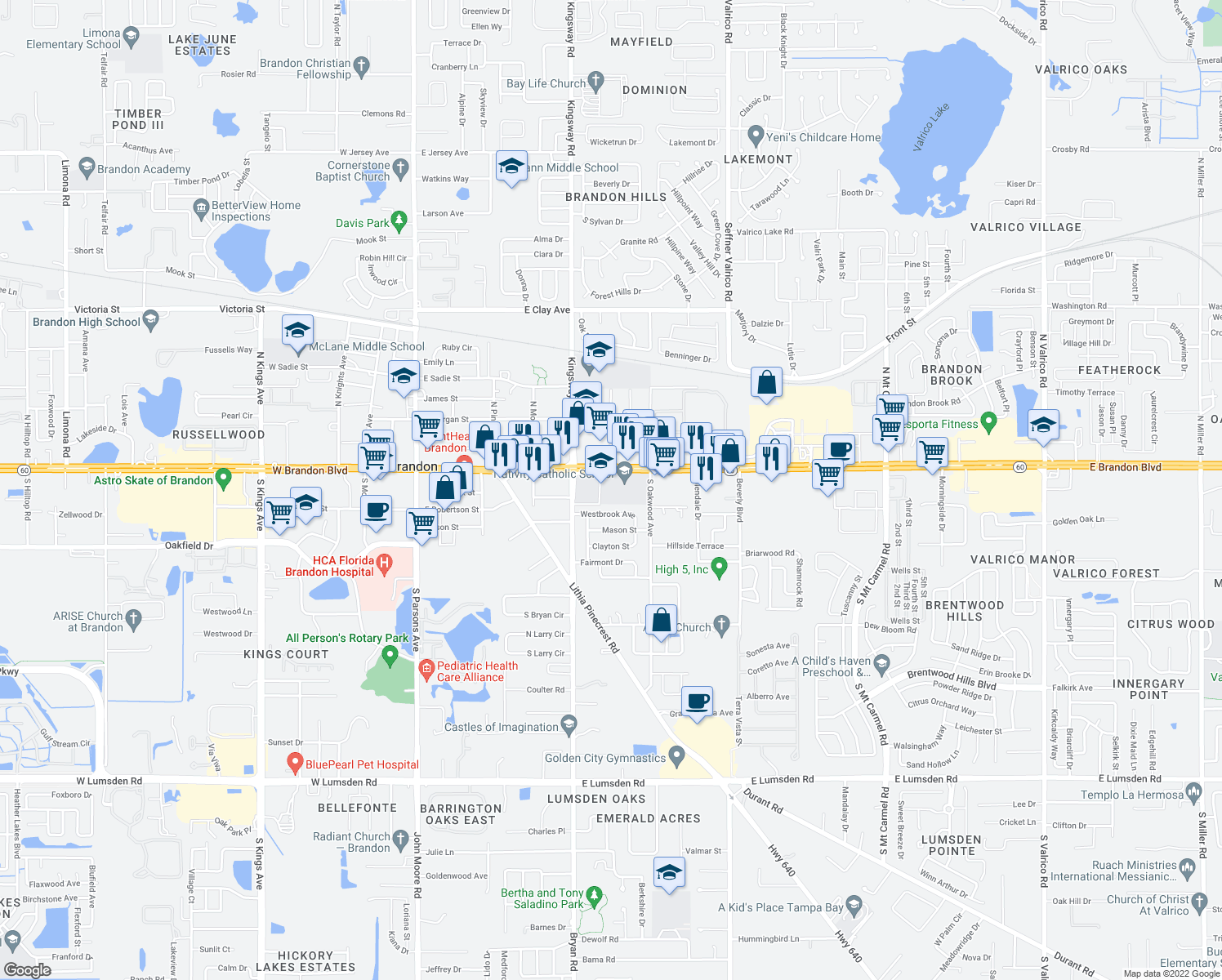 map of restaurants, bars, coffee shops, grocery stores, and more near 720 Westbrook Avenue in Brandon