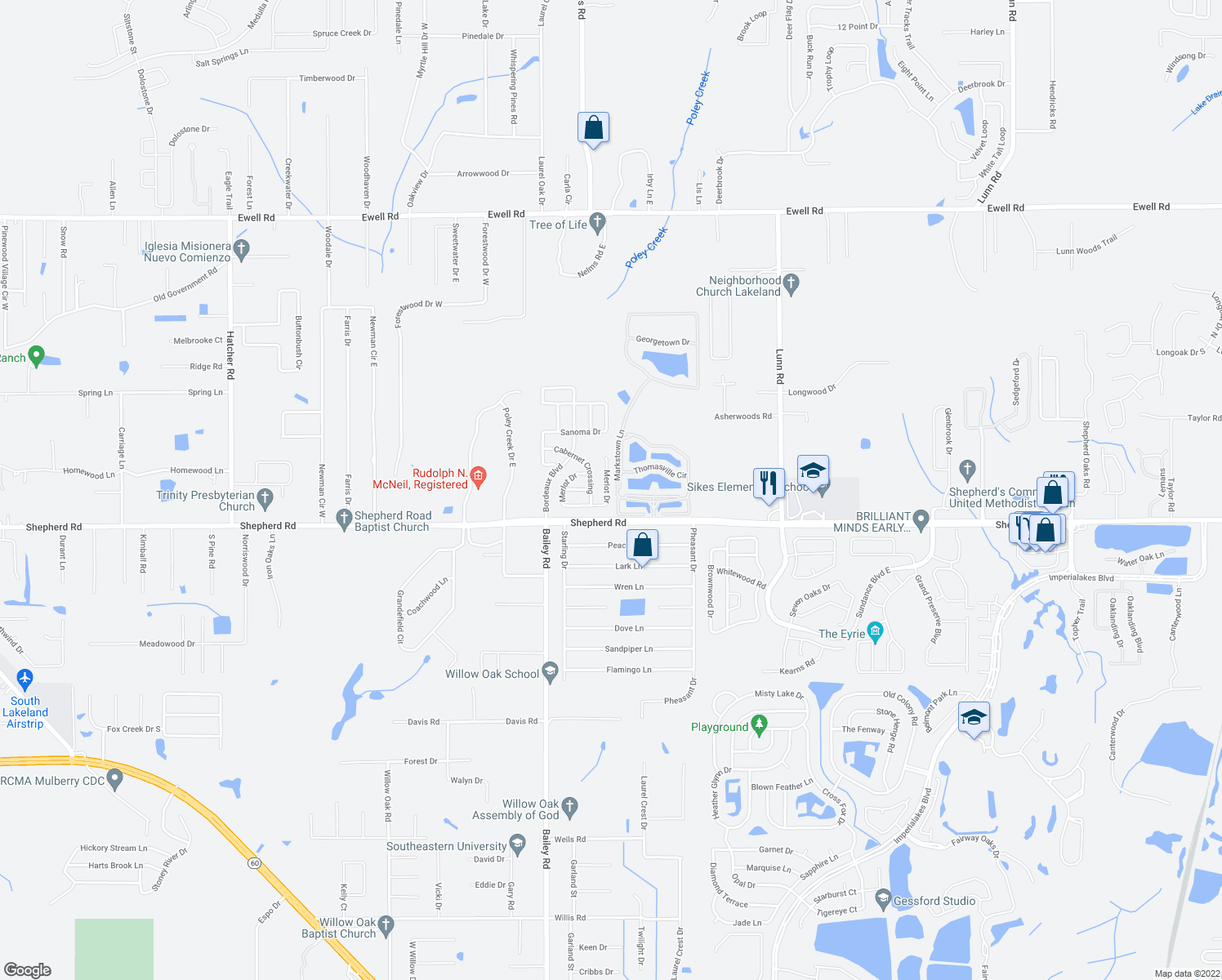 map of restaurants, bars, coffee shops, grocery stores, and more near 3229 Merlot Drive in Lakeland
