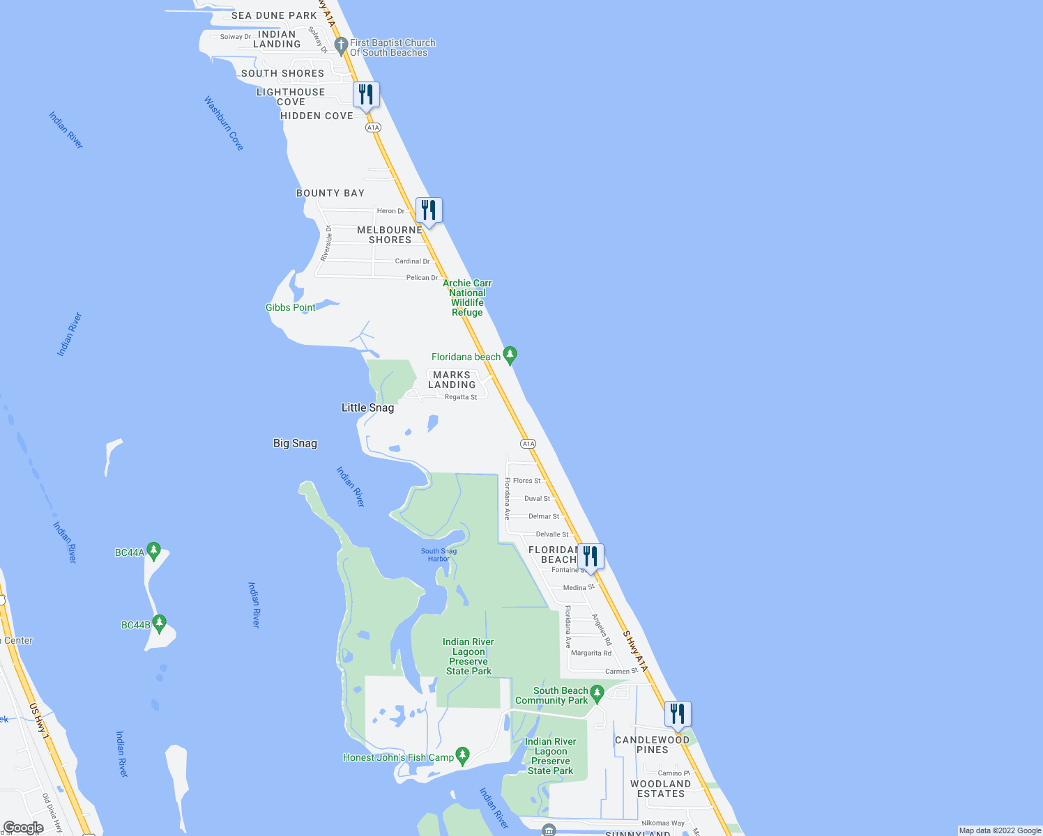map of restaurants, bars, coffee shops, grocery stores, and more near 321 Ocean Avenue in Melbourne Beach