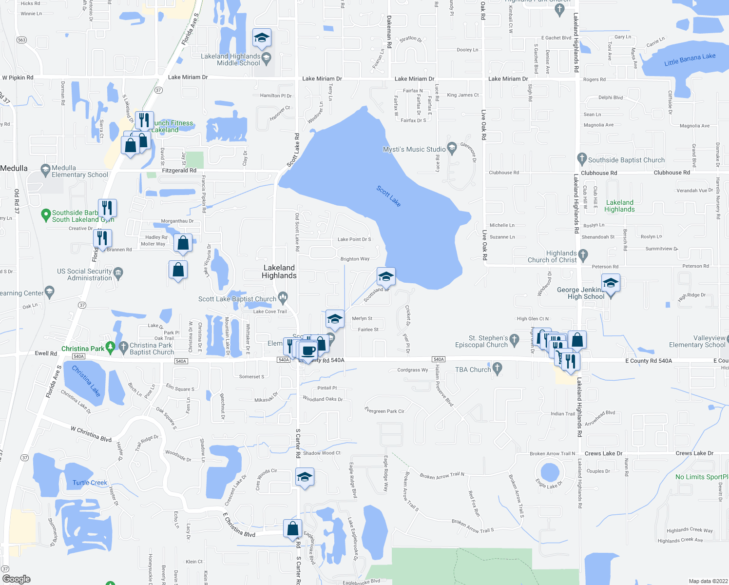 map of restaurants, bars, coffee shops, grocery stores, and more near 1341 Scottsland Drive in Lakeland