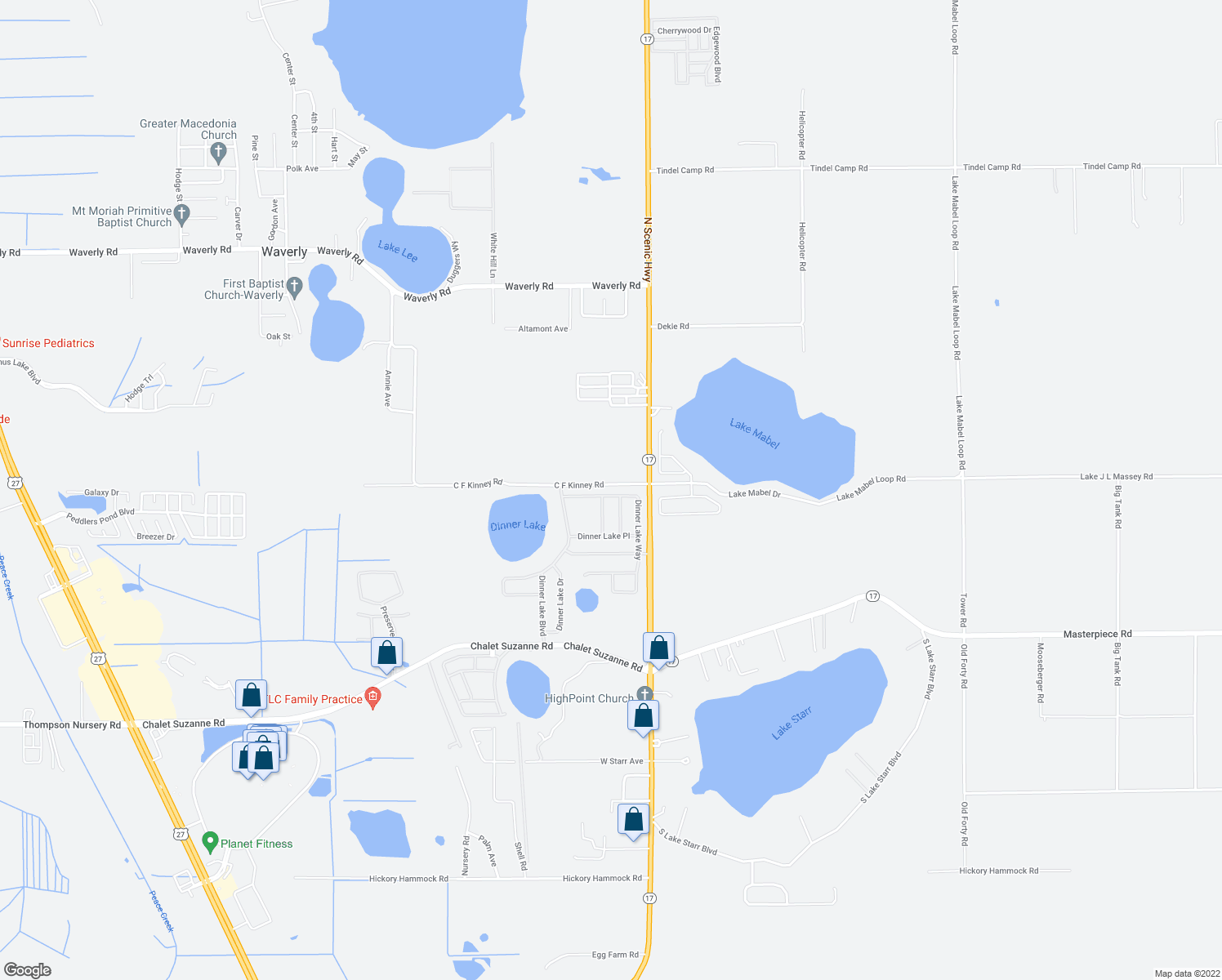 map of restaurants, bars, coffee shops, grocery stores, and more near 4142 Dinner Lake Way in Lake Wales
