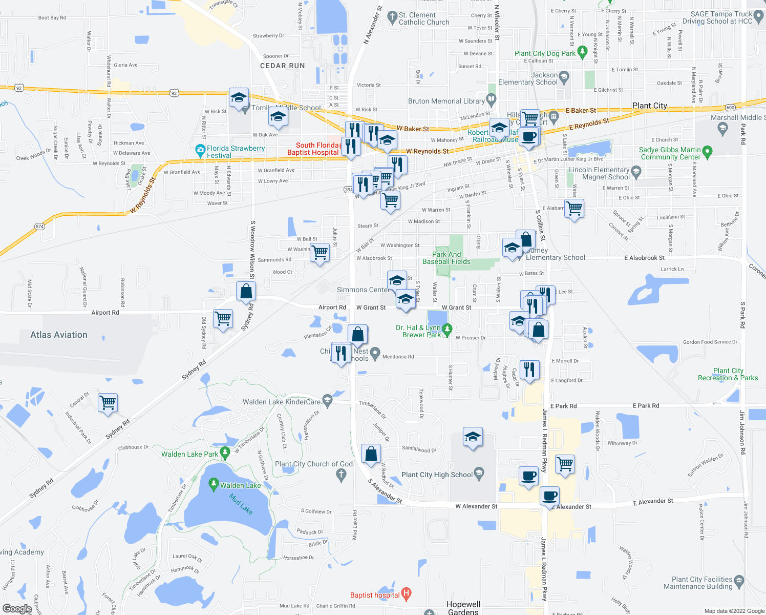 map of restaurants, bars, coffee shops, grocery stores, and more near 1305 West Grant Street in Plant City