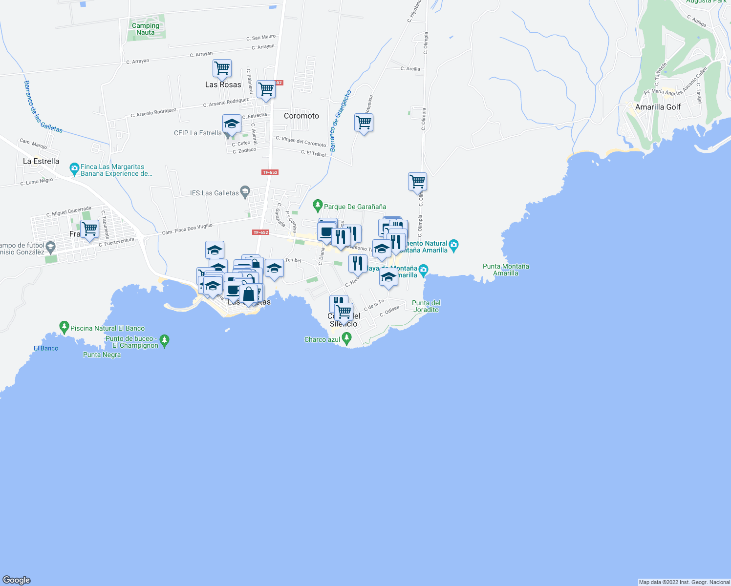 map of restaurants, bars, coffee shops, grocery stores, and more near Calle Boreas in Arona