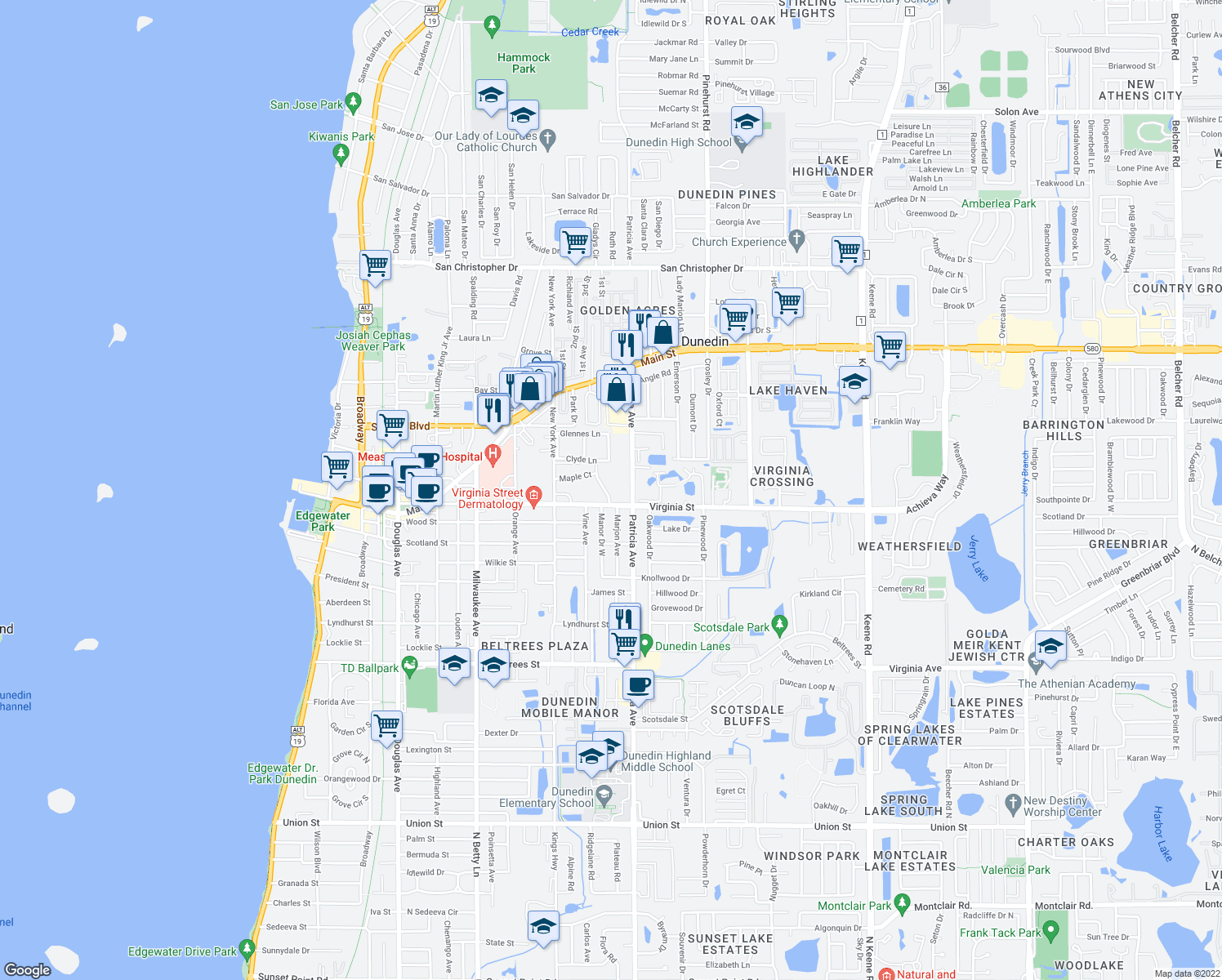 map of restaurants, bars, coffee shops, grocery stores, and more near 870 Virginia Street in Dunedin