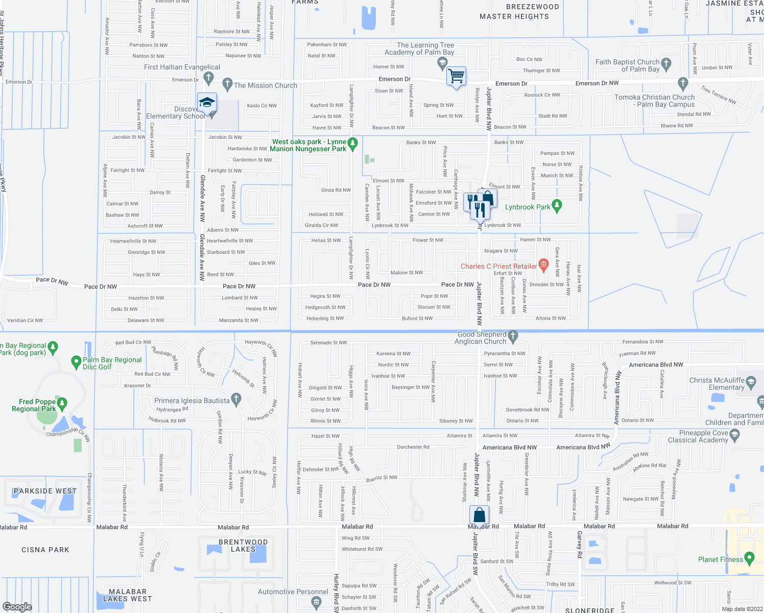 map of restaurants, bars, coffee shops, grocery stores, and more near 740 Highland Avenue Northwest in Palm Bay