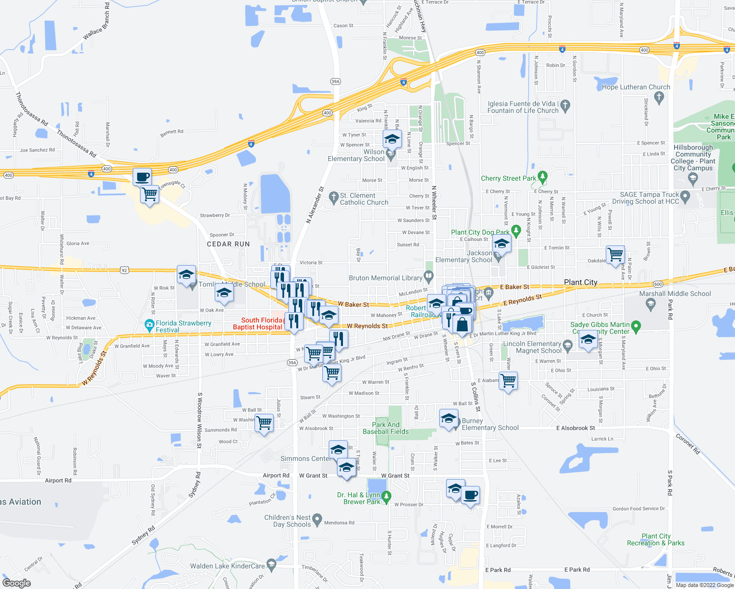 map of restaurants, bars, coffee shops, grocery stores, and more near 906 U.S. 92 in Plant City