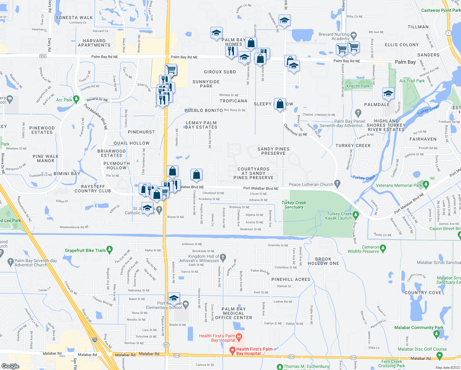 map of restaurants, bars, coffee shops, grocery stores, and more near 2022 Bluestem Cir NE in Palm Bay