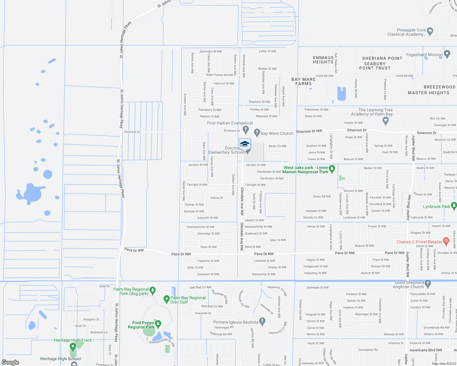 map of restaurants, bars, coffee shops, grocery stores, and more near 1740 Gagman Street Northwest in Palm Bay