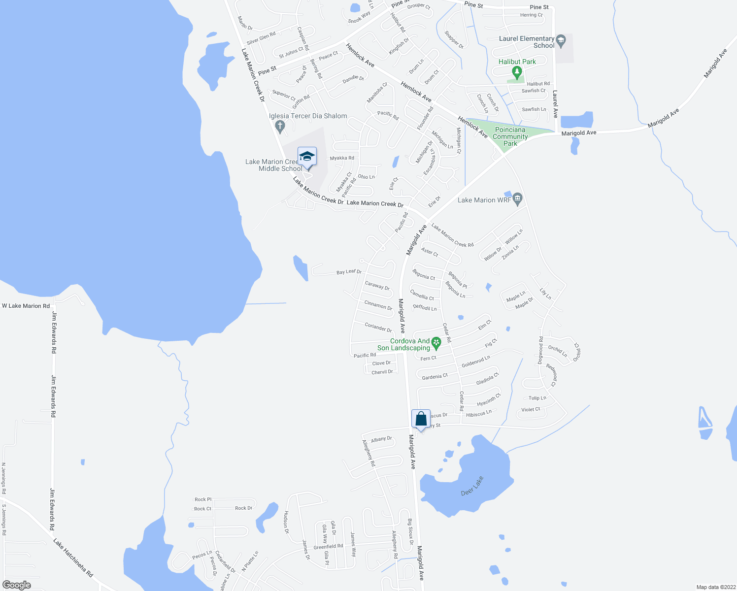 map of restaurants, bars, coffee shops, grocery stores, and more near 409 Cinnamon Drive in Kissimmee