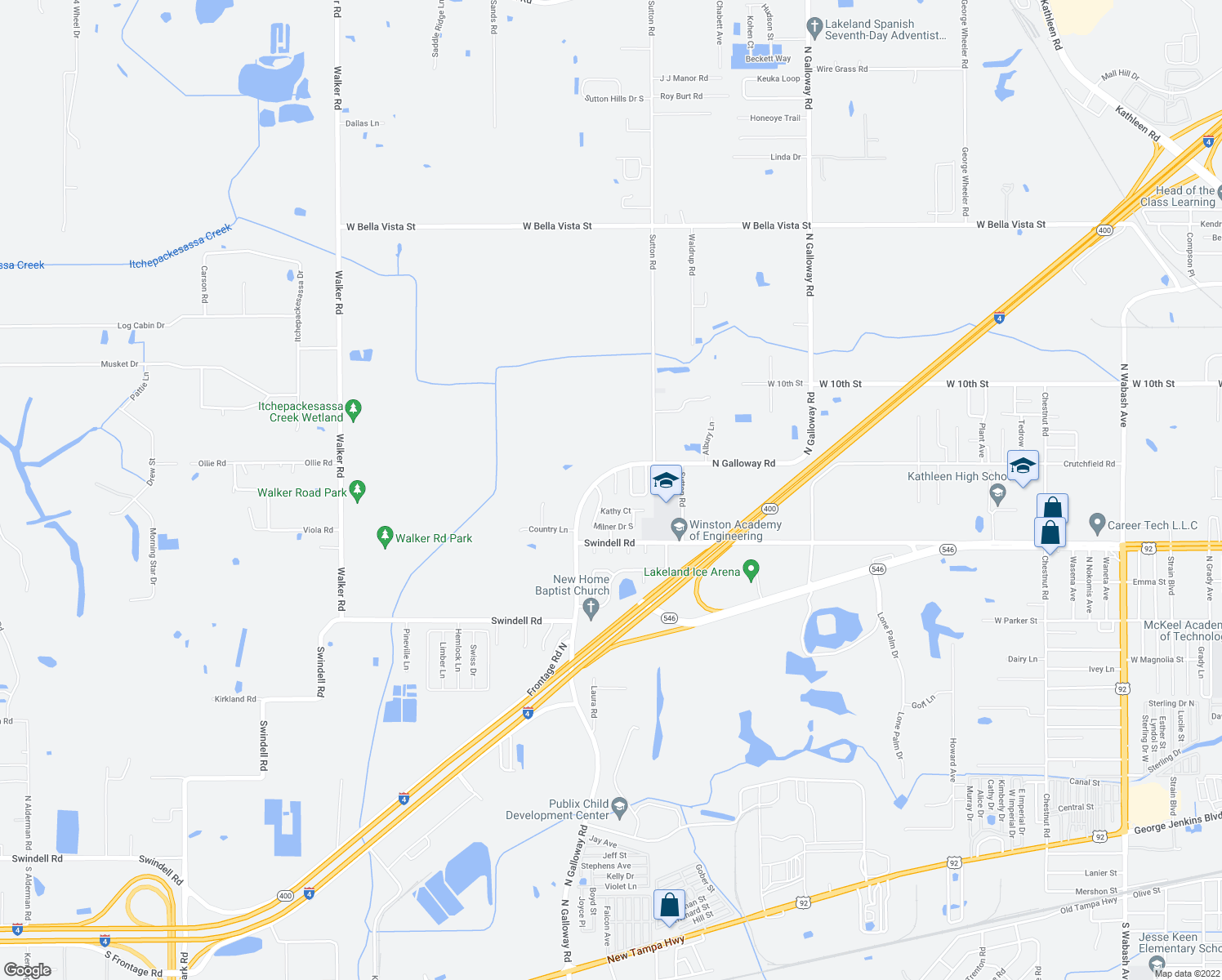 map of restaurants, bars, coffee shops, grocery stores, and more near 1122 Apollo Court in Lakeland