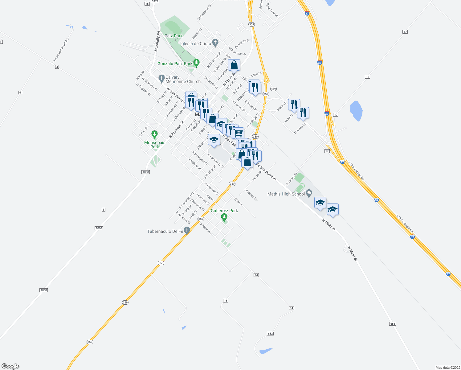 map of restaurants, bars, coffee shops, grocery stores, and more near 506-560 Highway 359 in Mathis