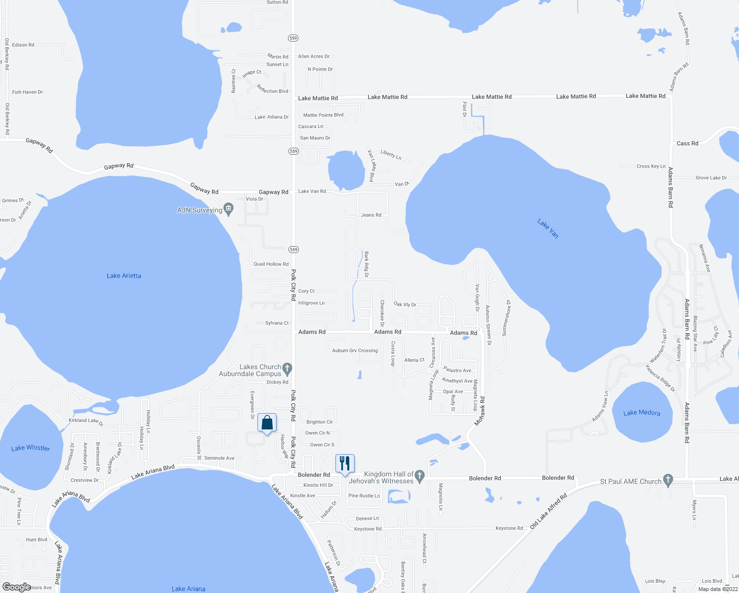 map of restaurants, bars, coffee shops, grocery stores, and more near 169 Eagle Point Loop in Auburndale