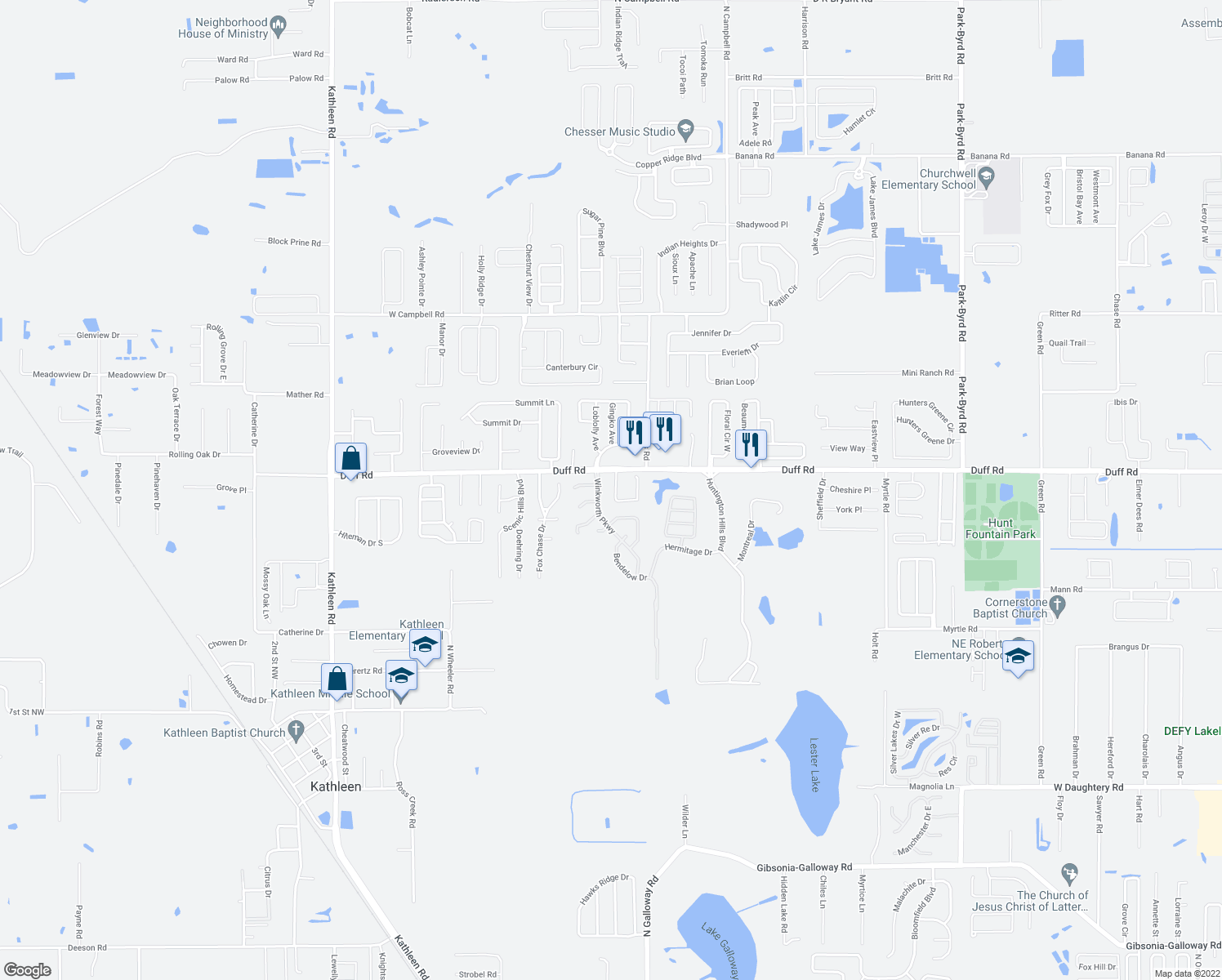 map of restaurants, bars, coffee shops, grocery stores, and more near 7264 Winners Boulevard in Lakeland