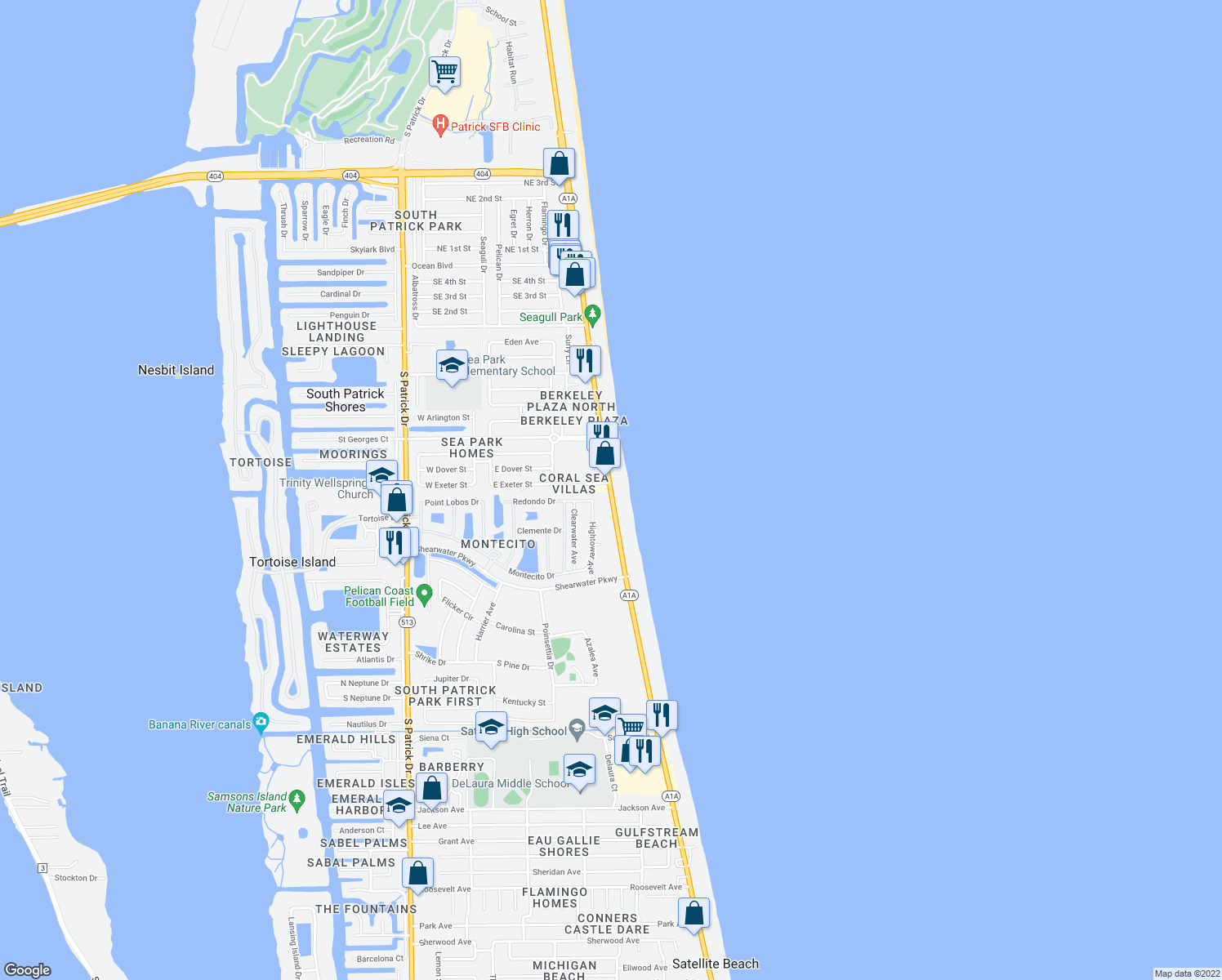 map of restaurants, bars, coffee shops, grocery stores, and more near 579 Florida A1A in Satellite Beach