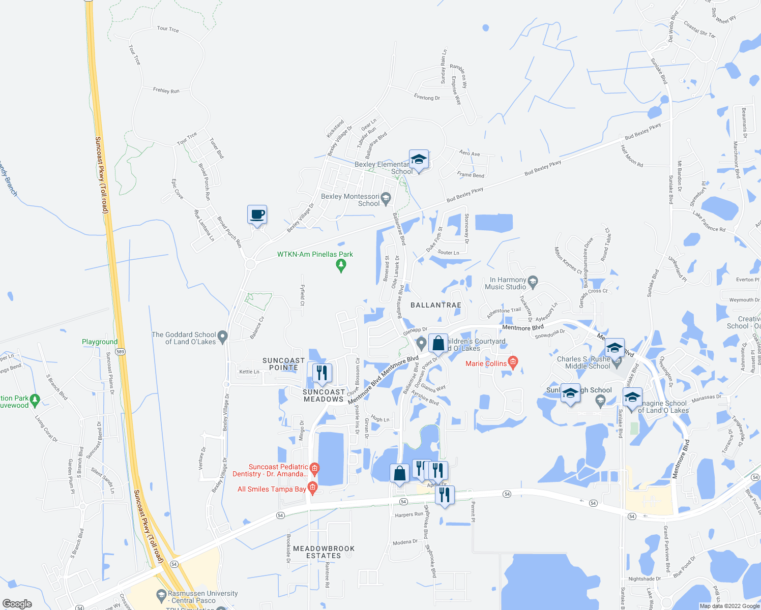 map of restaurants, bars, coffee shops, grocery stores, and more near 3525 Beneraid Street in Land O' Lakes