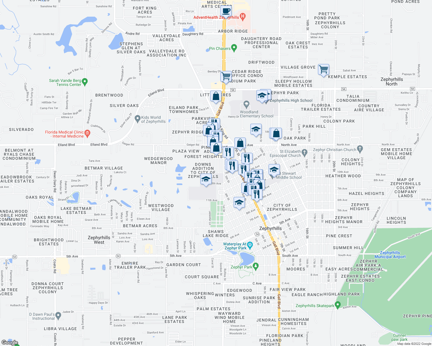 map of restaurants, bars, coffee shops, grocery stores, and more near 37900 14th Avenue in Zephyrhills