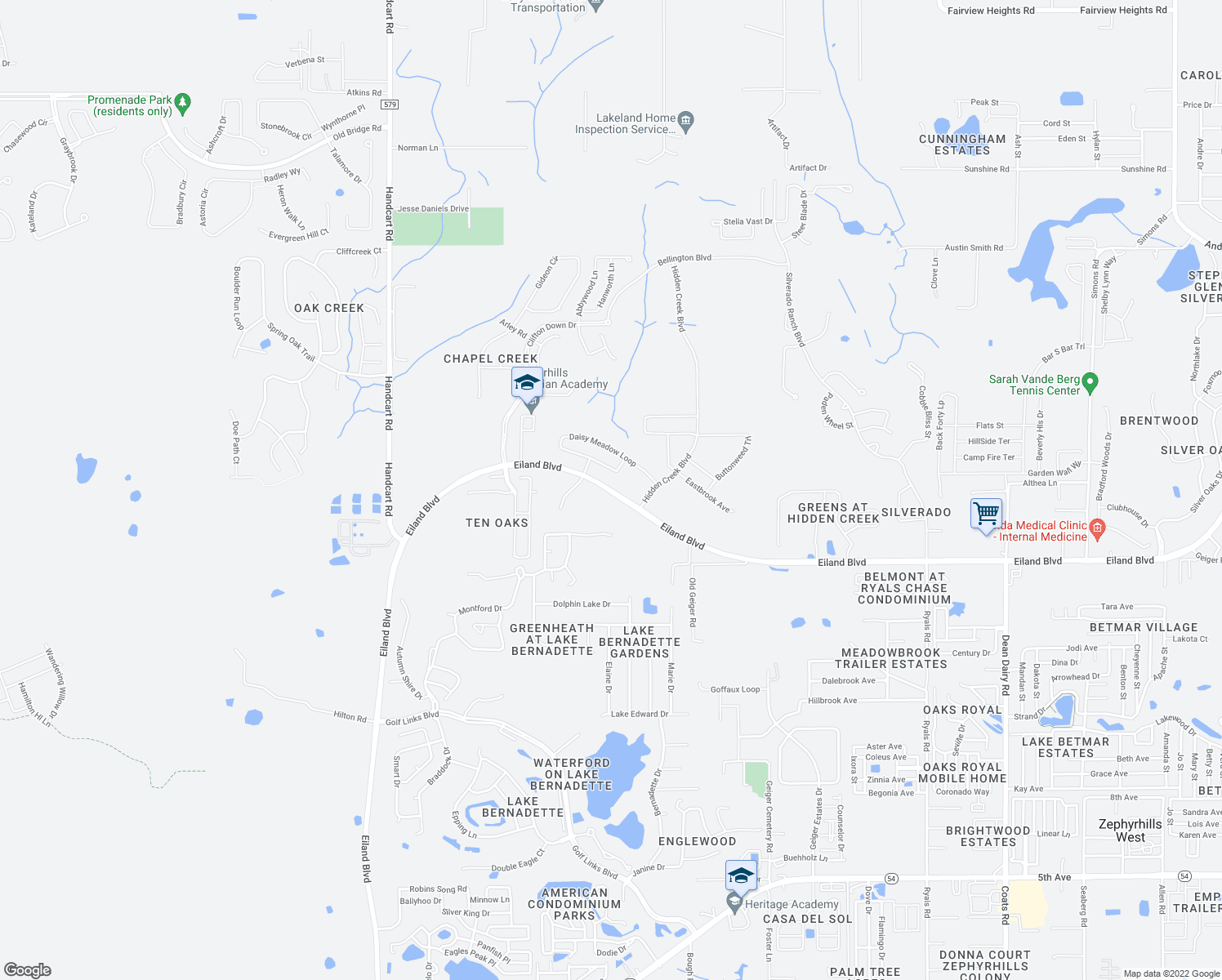 map of restaurants, bars, coffee shops, grocery stores, and more near 35040 Eiland Boulevard in Zephyrhills