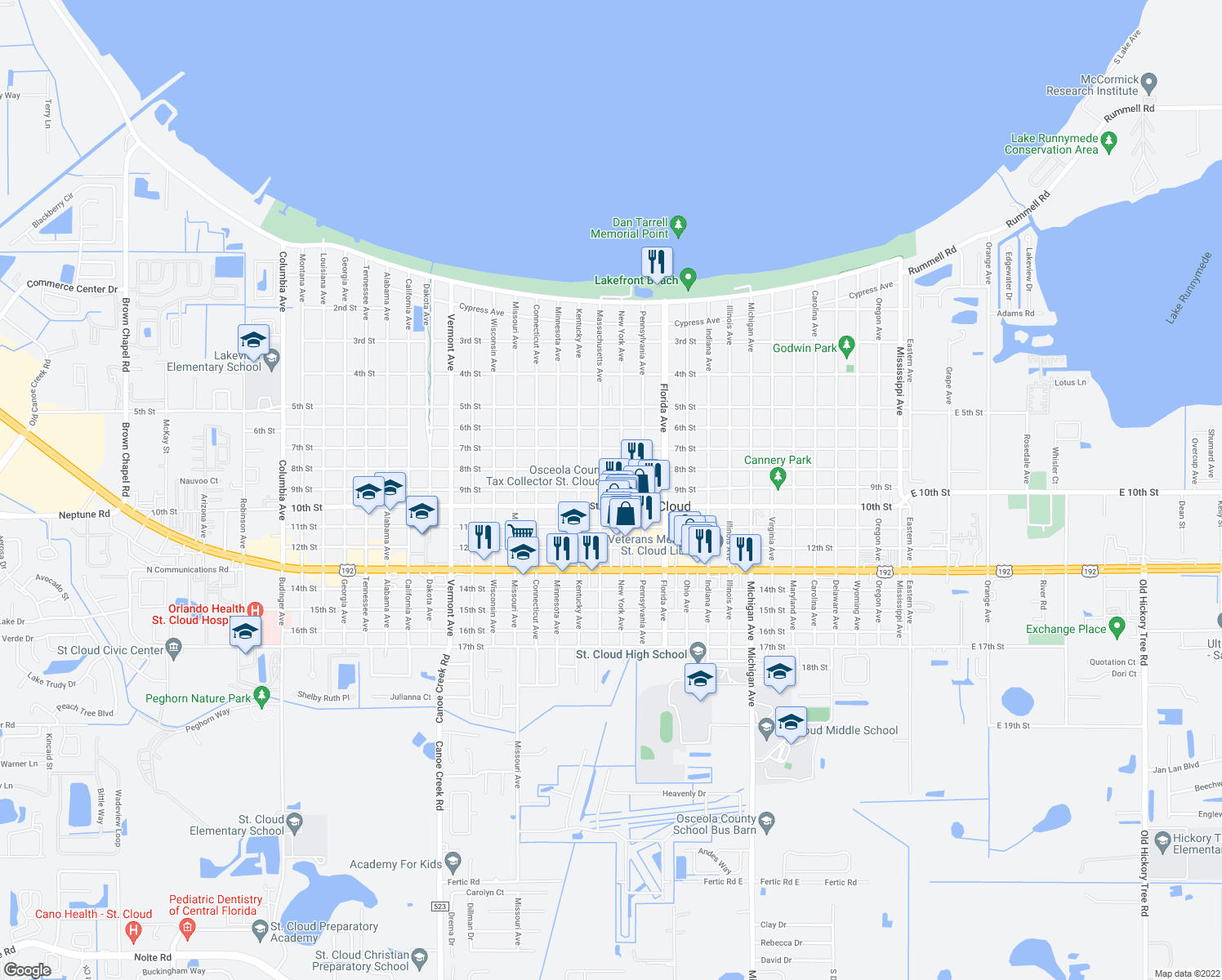 map of restaurants, bars, coffee shops, grocery stores, and more near 901-915 New York Avenue in Saint Cloud