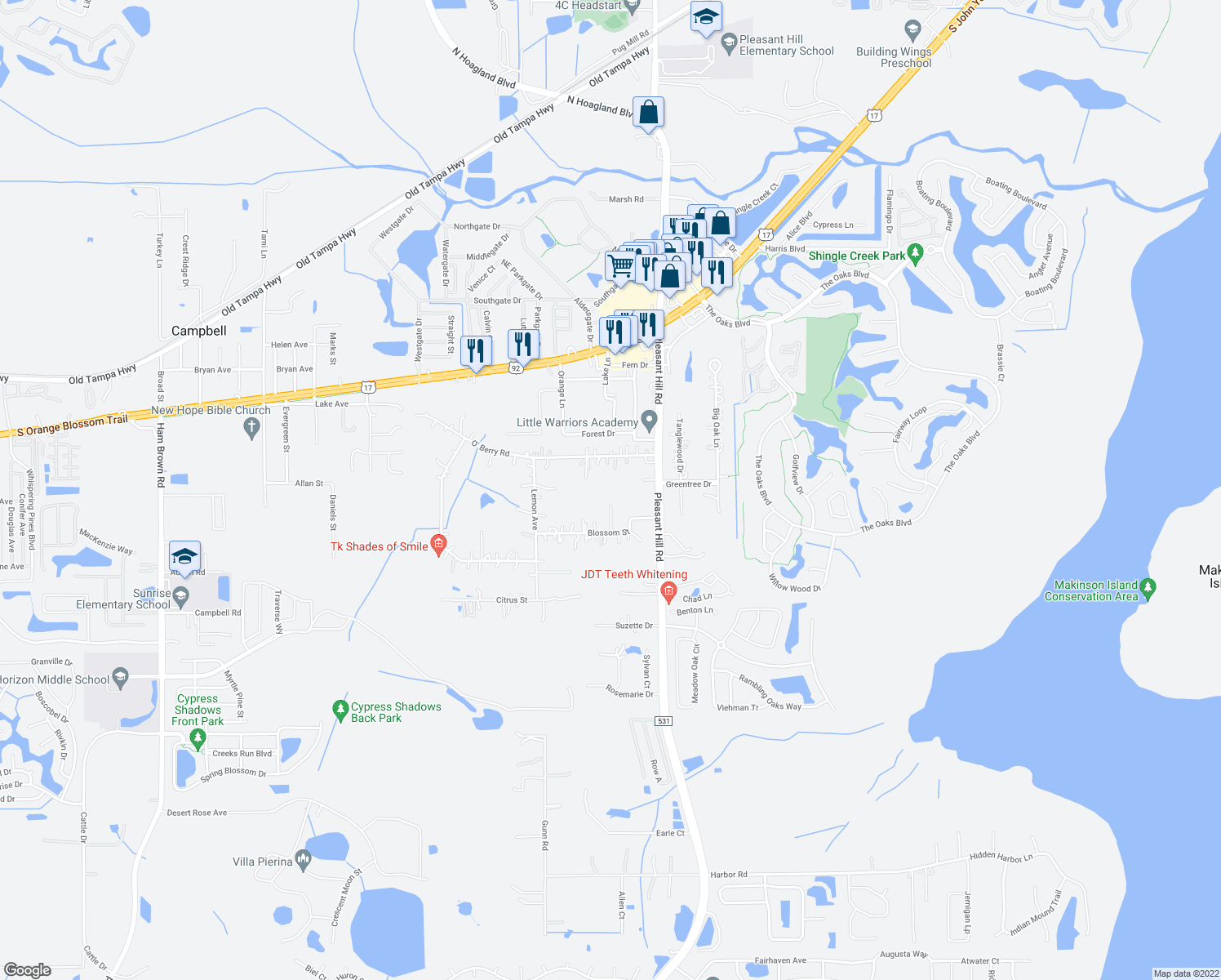 map of restaurants, bars, coffee shops, grocery stores, and more near in Kissimmee