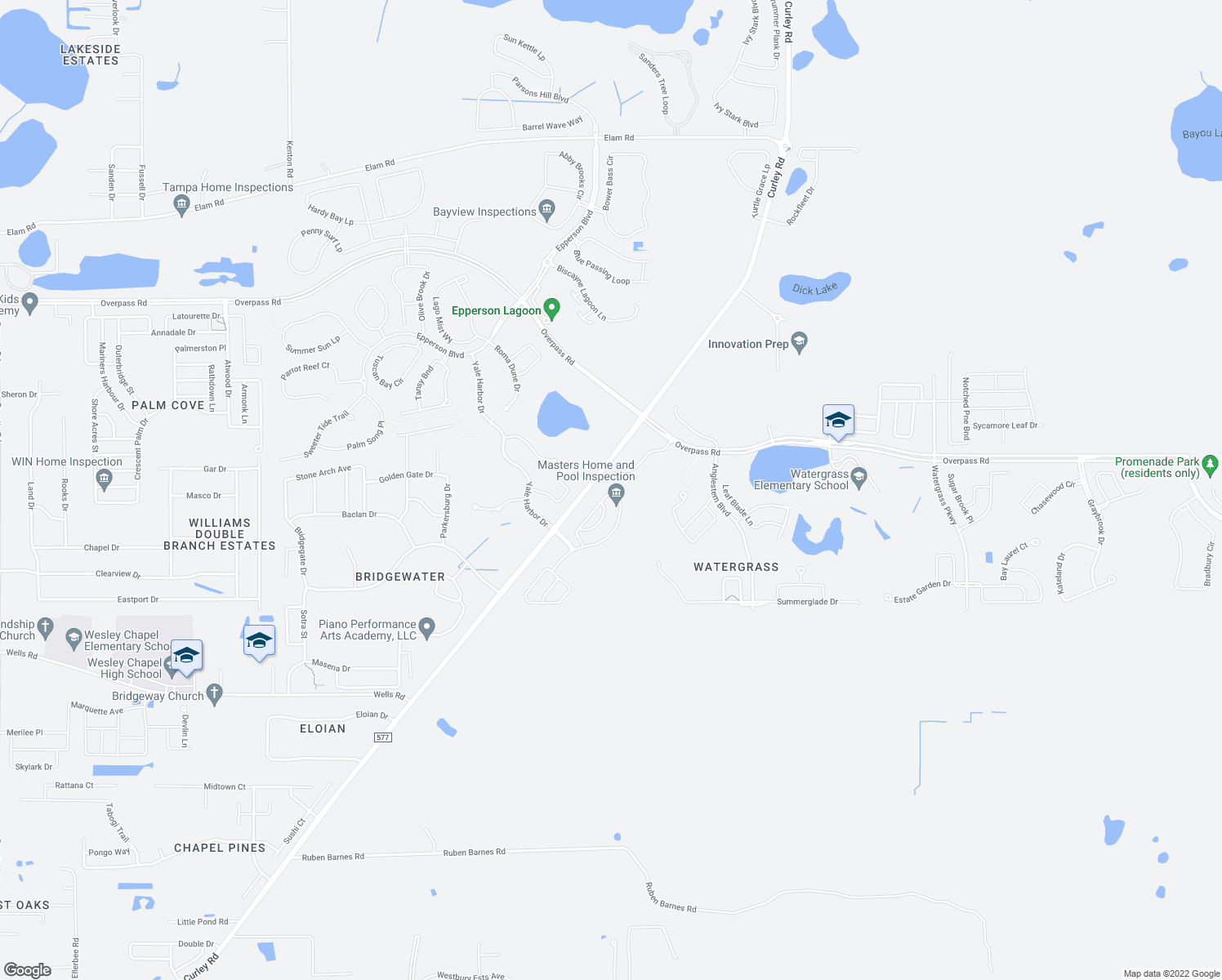 map of restaurants, bars, coffee shops, grocery stores, and more near 7342 Bridgeview Drive in Wesley Chapel