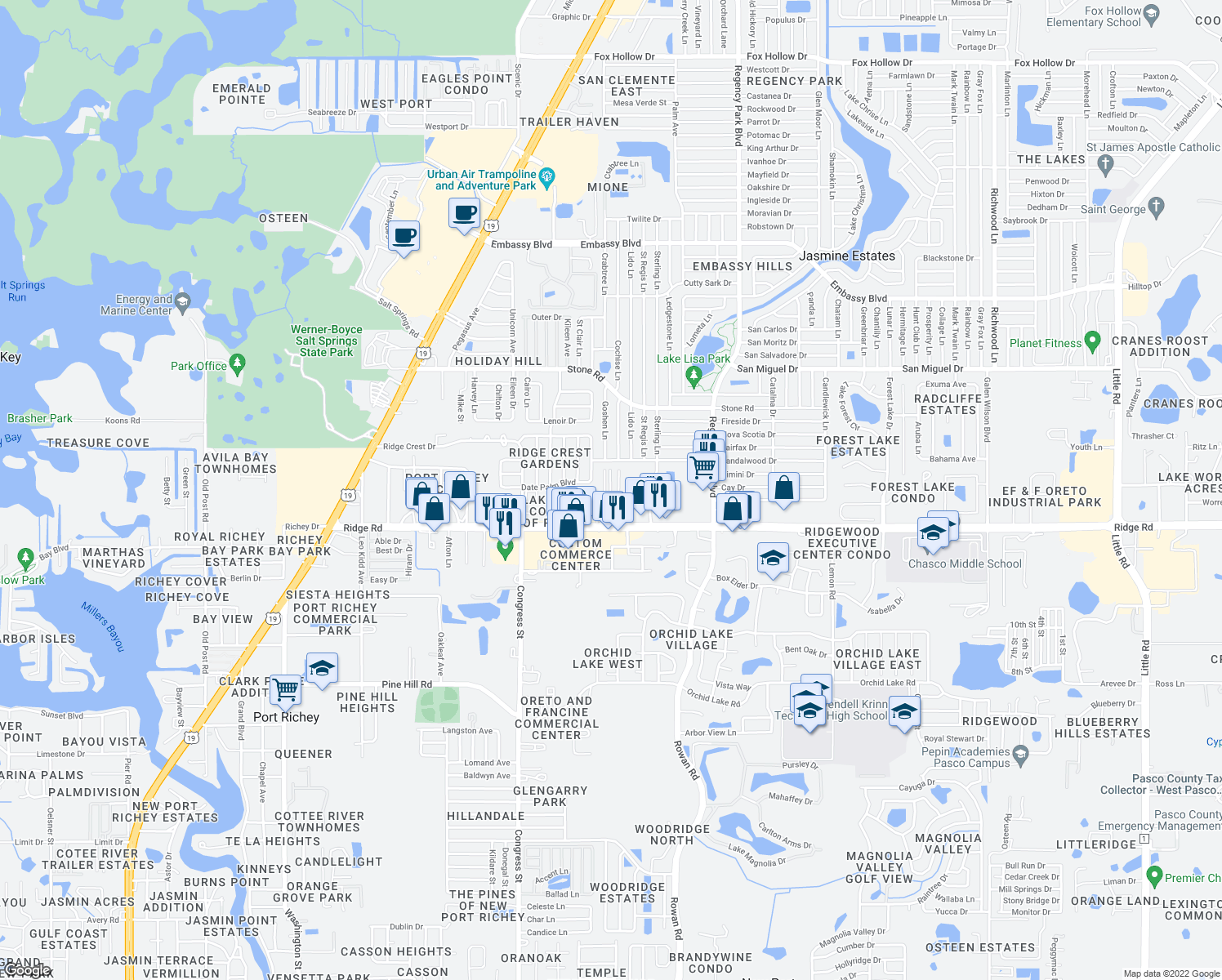 map of restaurants, bars, coffee shops, grocery stores, and more near 8608 Frontier Trail in Port Richey