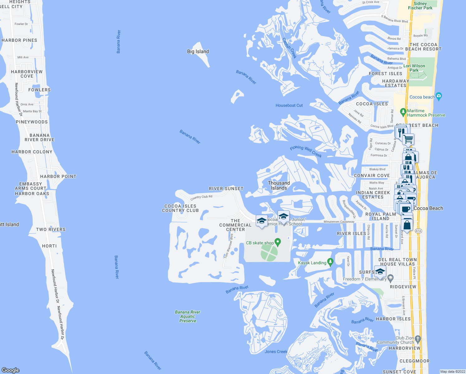map of restaurants, bars, coffee shops, grocery stores, and more near 1835 Minutemen Causeway in Cocoa Beach