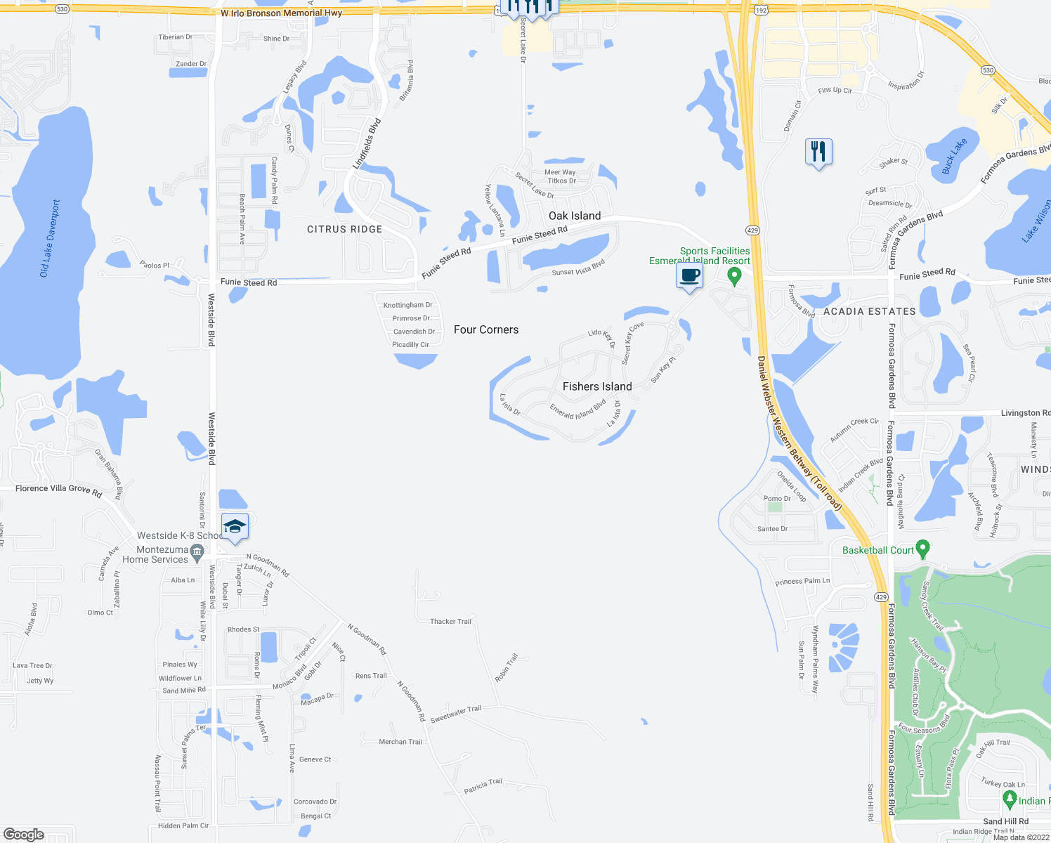 map of restaurants, bars, coffee shops, grocery stores, and more near 8573 La Isla Drive in Kissimmee
